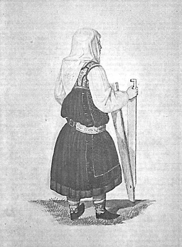 Slika 2: Žena oblečena v modrotiskano krilo